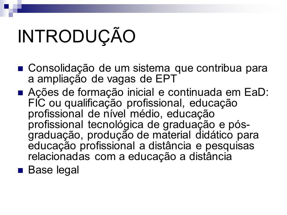 INTRODUÇÃO Consolidação de um sistema que contribua para a ampliação de vagas de EPT.