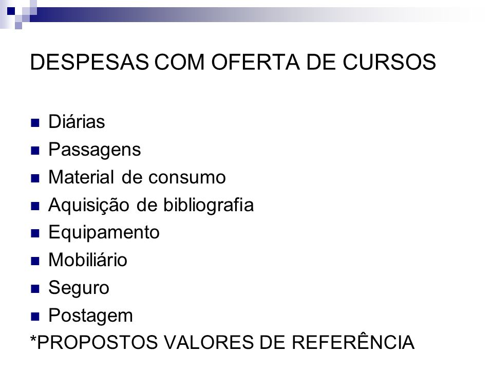 DESPESAS COM OFERTA DE CURSOS