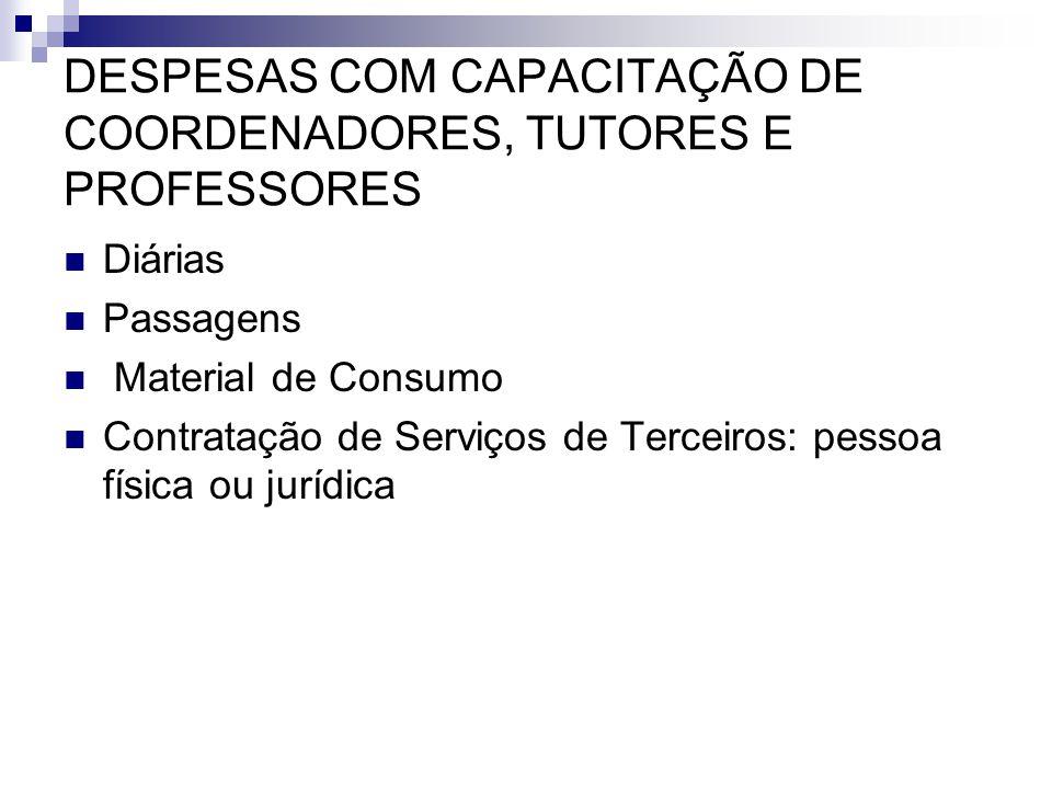 DESPESAS COM CAPACITAÇÃO DE COORDENADORES, TUTORES E PROFESSORES