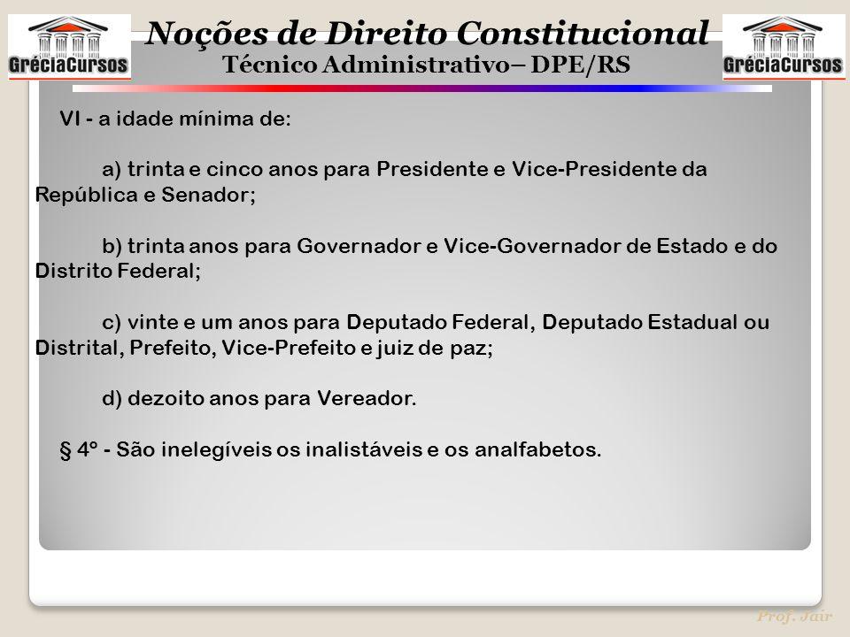VI - a idade mínima de: a) trinta e cinco anos para Presidente e Vice-Presidente da República e Senador;