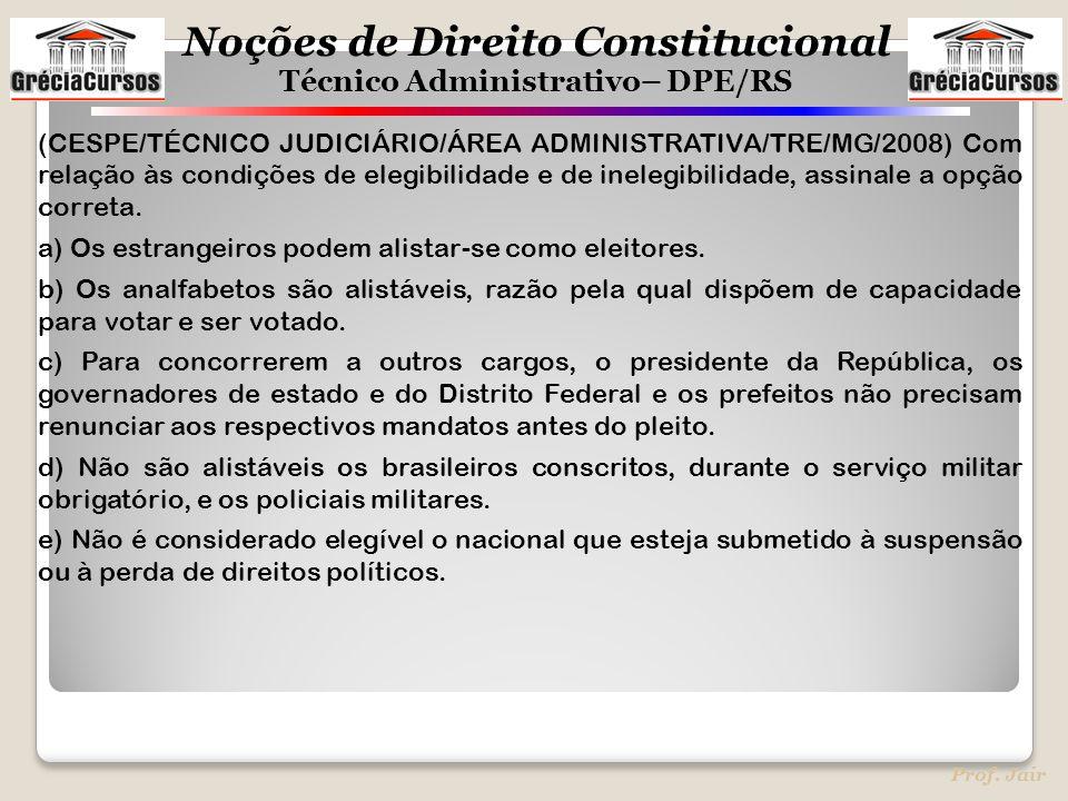 (CESPE/TÉCNICO JUDICIÁRIO/ÁREA ADMINISTRATIVA/TRE/MG/2008) Com relação às condições de elegibilidade e de inelegibilidade, assinale a opção correta.