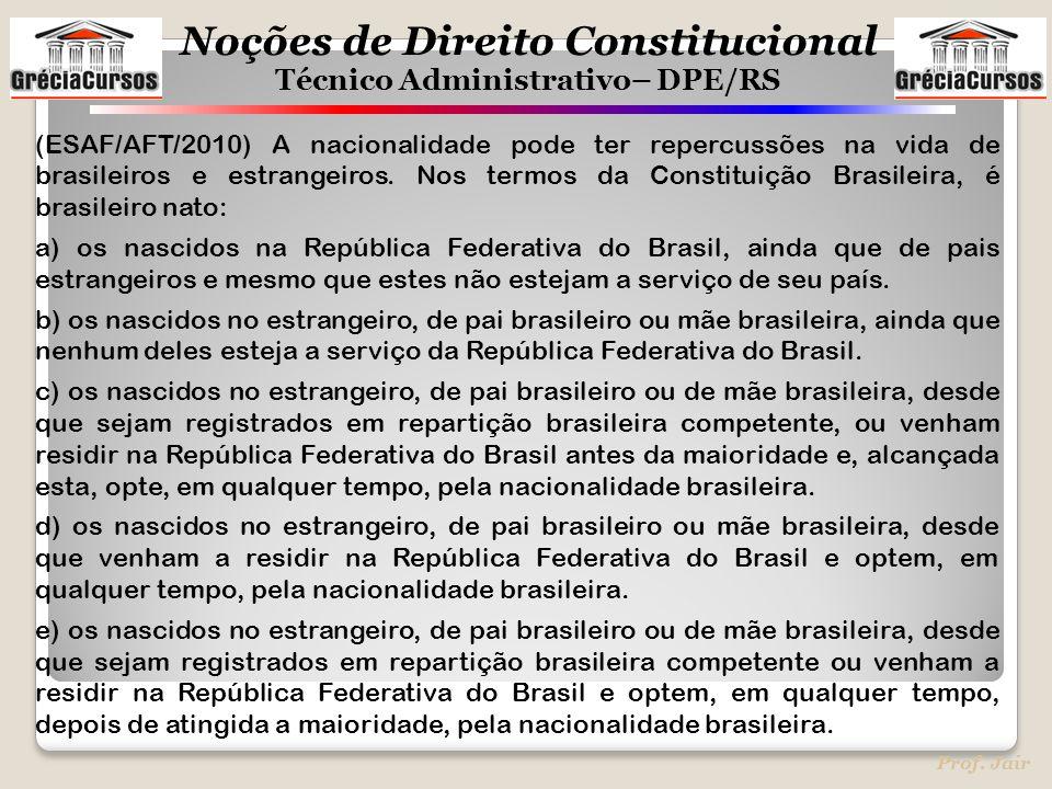 (ESAF/AFT/2010) A nacionalidade pode ter repercussões na vida de brasileiros e estrangeiros. Nos termos da Constituição Brasileira, é brasileiro nato: