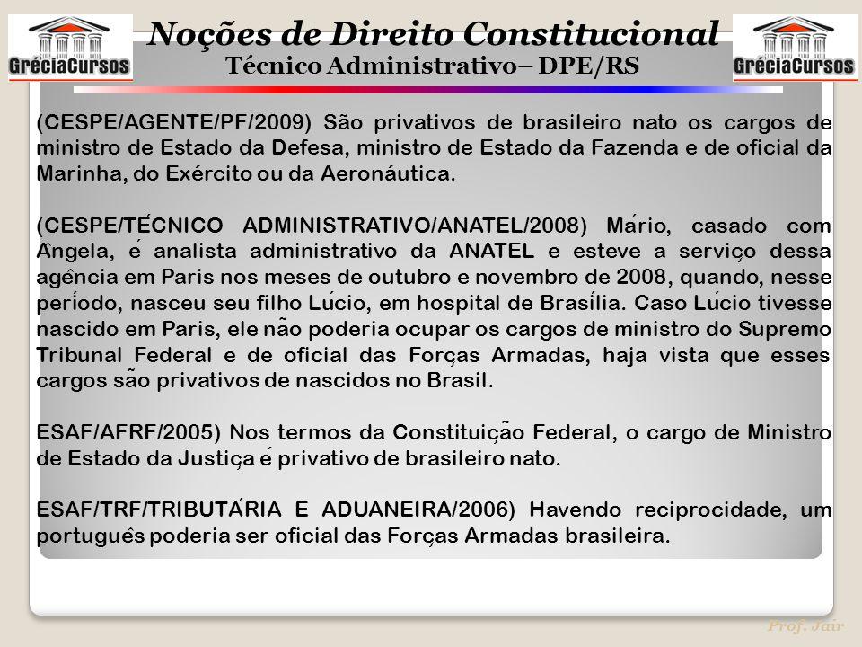 (CESPE/AGENTE/PF/2009) São privativos de brasileiro nato os cargos de ministro de Estado da Defesa, ministro de Estado da Fazenda e de oficial da Marinha, do Exército ou da Aeronáutica.