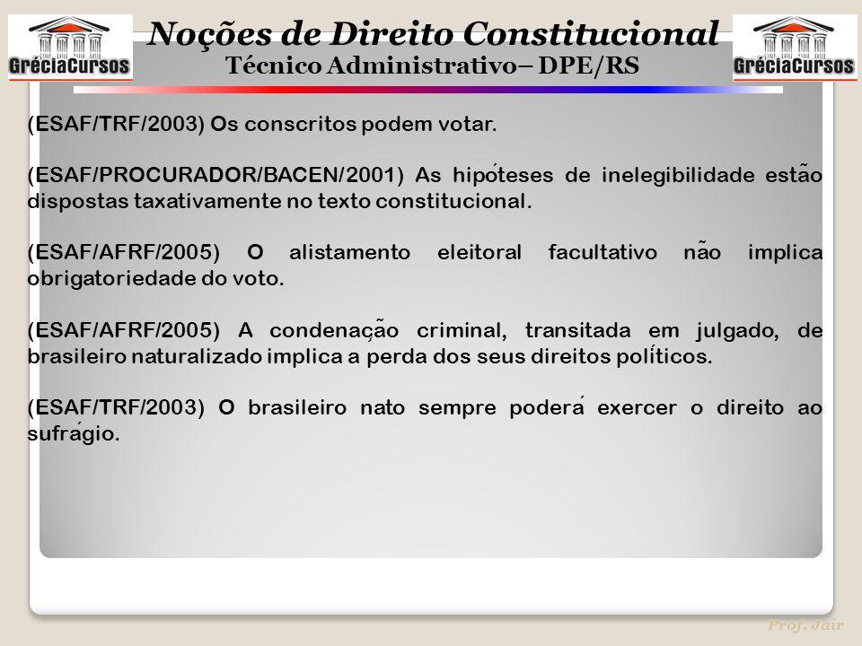 (ESAF/TRF/2003) Os conscritos podem votar.