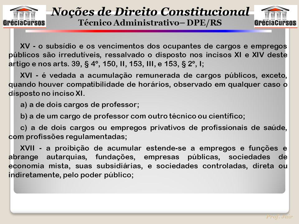 XV - o subsídio e os vencimentos dos ocupantes de cargos e empregos públicos são irredutíveis, ressalvado o disposto nos incisos XI e XIV deste artigo e nos arts. 39, § 4º, 150, II, 153, III, e 153, § 2º, I;