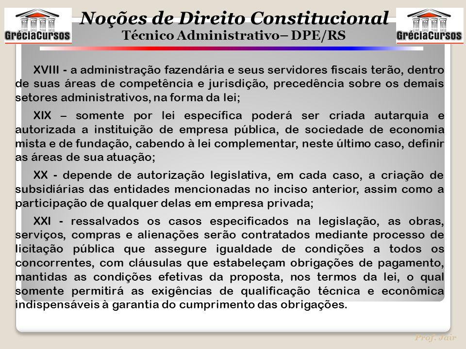 XVIII - a administração fazendária e seus servidores fiscais terão, dentro de suas áreas de competência e jurisdição, precedência sobre os demais setores administrativos, na forma da lei;