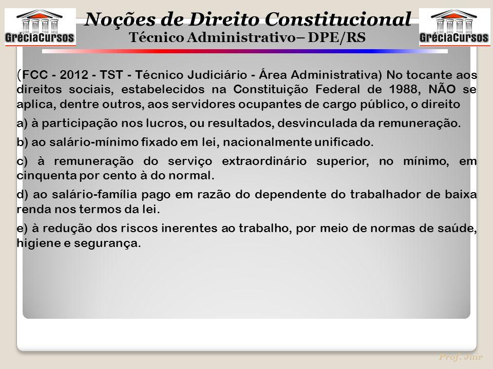 (FCC - 2012 - TST - Técnico Judiciário - Área Administrativa) No tocante aos direitos sociais, estabelecidos na Constituição Federal de 1988, NÃO se aplica, dentre outros, aos servidores ocupantes de cargo público, o direito