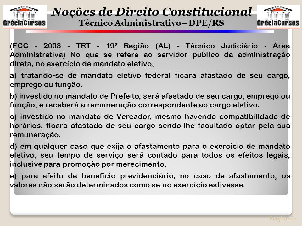 (FCC - 2008 - TRT - 19ª Região (AL) - Técnico Judiciário - Área Administrativa) No que se refere ao servidor público da administração direta, no exercício de mandato eletivo,