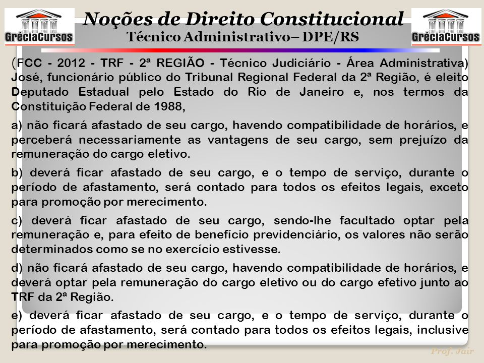 (FCC - 2012 - TRF - 2ª REGIÃO - Técnico Judiciário - Área Administrativa) José, funcionário público do Tribunal Regional Federal da 2ª Região, é eleito Deputado Estadual pelo Estado do Rio de Janeiro e, nos termos da Constituição Federal de 1988,