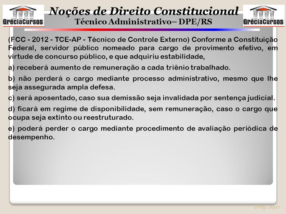 (FCC - 2012 - TCE-AP - Técnico de Controle Externo) Conforme a Constituição Federal, servidor público nomeado para cargo de provimento efetivo, em virtude de concurso público, e que adquiriu estabilidade,