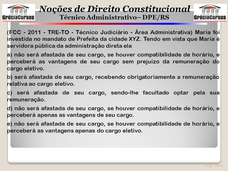 (FCC - 2011 - TRE-TO - Técnico Judiciário - Área Administrativa) Maria foi investida no mandato de Prefeita da cidade XYZ. Tendo em vista que Maria é servidora pública da administração direta ela