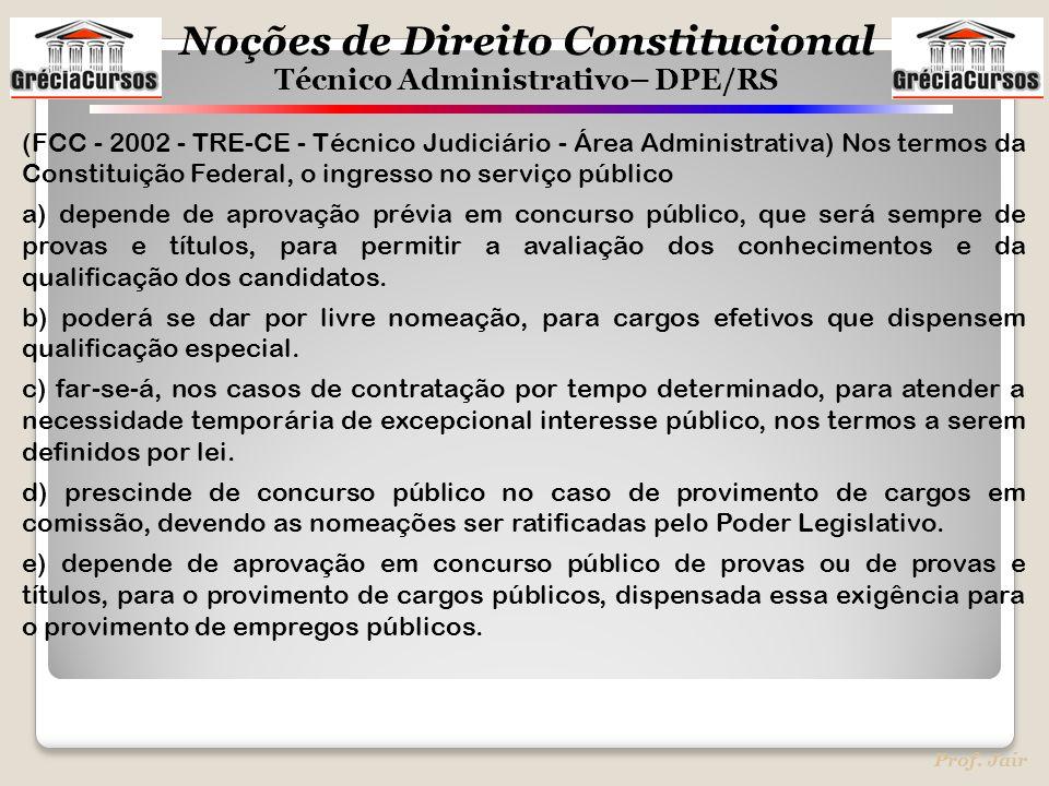 (FCC - 2002 - TRE-CE - Técnico Judiciário - Área Administrativa) Nos termos da Constituição Federal, o ingresso no serviço público