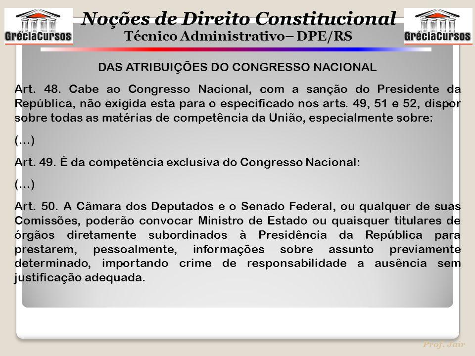DAS ATRIBUIÇÕES DO CONGRESSO NACIONAL