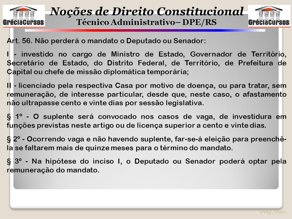 Art. 56. Não perderá o mandato o Deputado ou Senador: