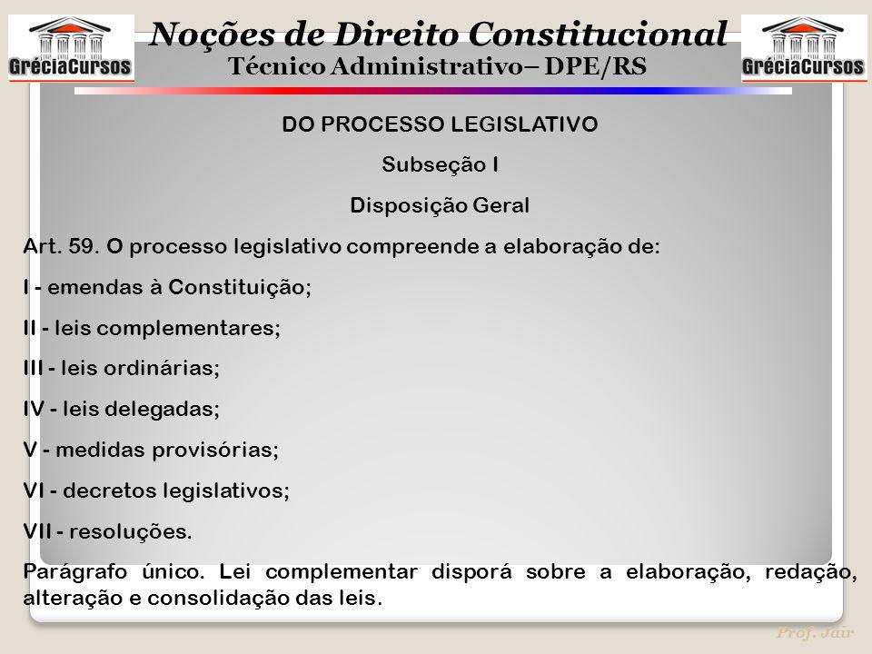 DO PROCESSO LEGISLATIVO