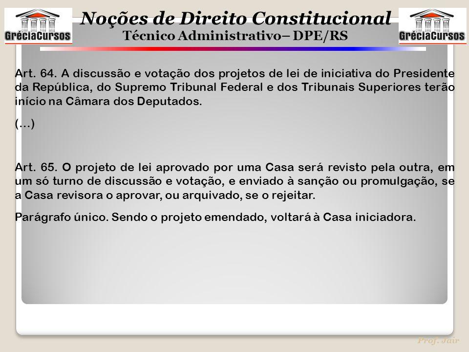 Art. 64. A discussão e votação dos projetos de lei de iniciativa do Presidente da República, do Supremo Tribunal Federal e dos Tribunais Superiores terão início na Câmara dos Deputados.