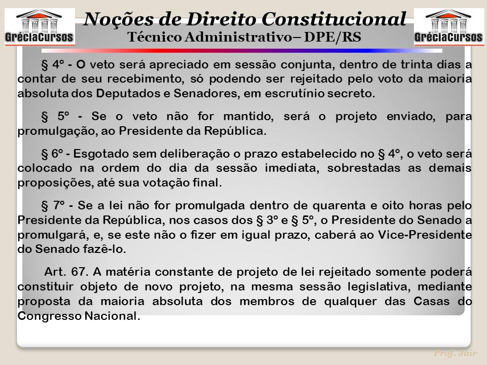 § 4º - O veto será apreciado em sessão conjunta, dentro de trinta dias a contar de seu recebimento, só podendo ser rejeitado pelo voto da maioria absoluta dos Deputados e Senadores, em escrutínio secreto.