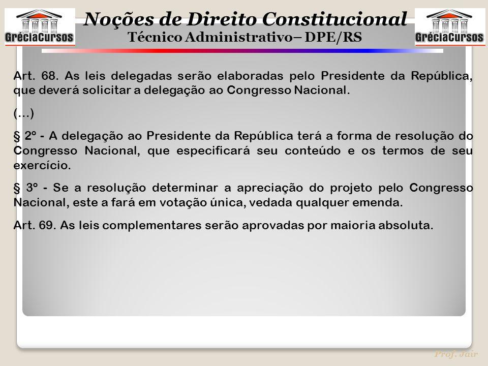 Art. 68. As leis delegadas serão elaboradas pelo Presidente da República, que deverá solicitar a delegação ao Congresso Nacional.