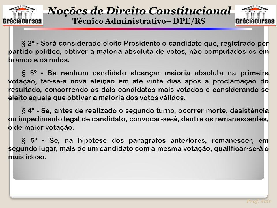 § 2º - Será considerado eleito Presidente o candidato que, registrado por partido político, obtiver a maioria absoluta de votos, não computados os em branco e os nulos.