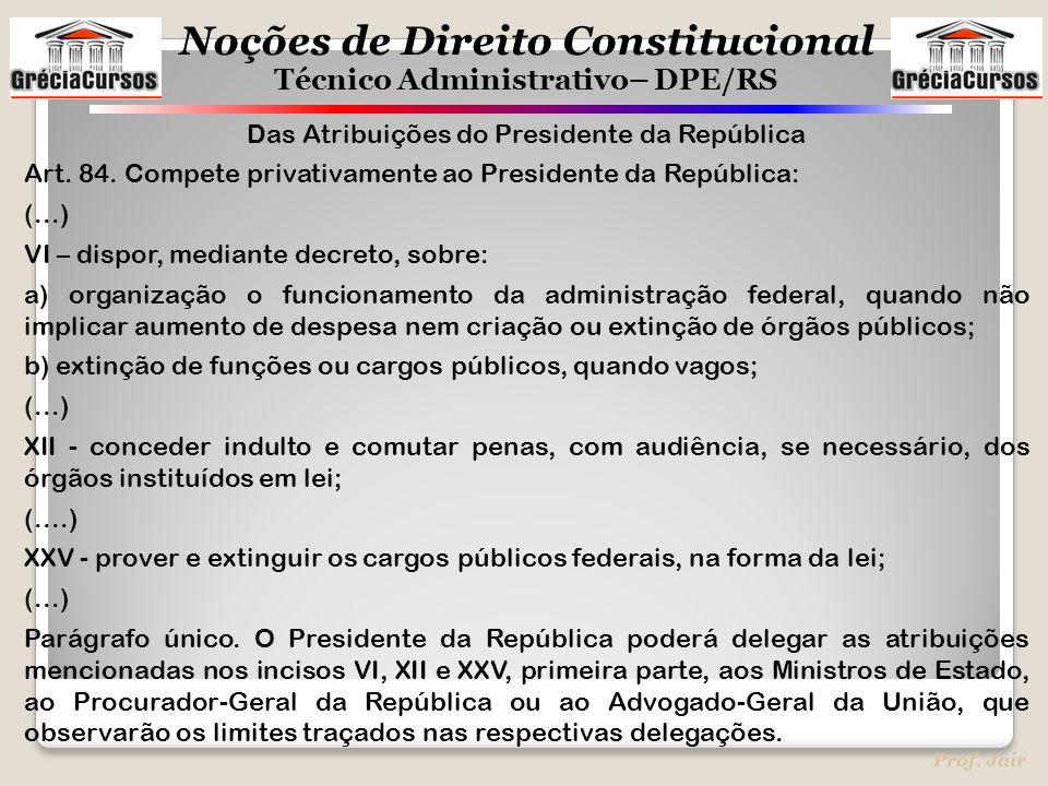 Das Atribuições do Presidente da República