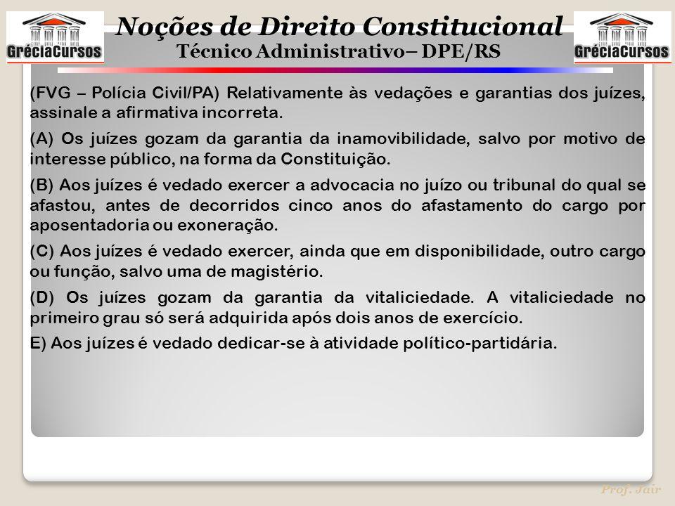 (FVG – Polícia Civil/PA) Relativamente às vedações e garantias dos juízes, assinale a afirmativa incorreta.