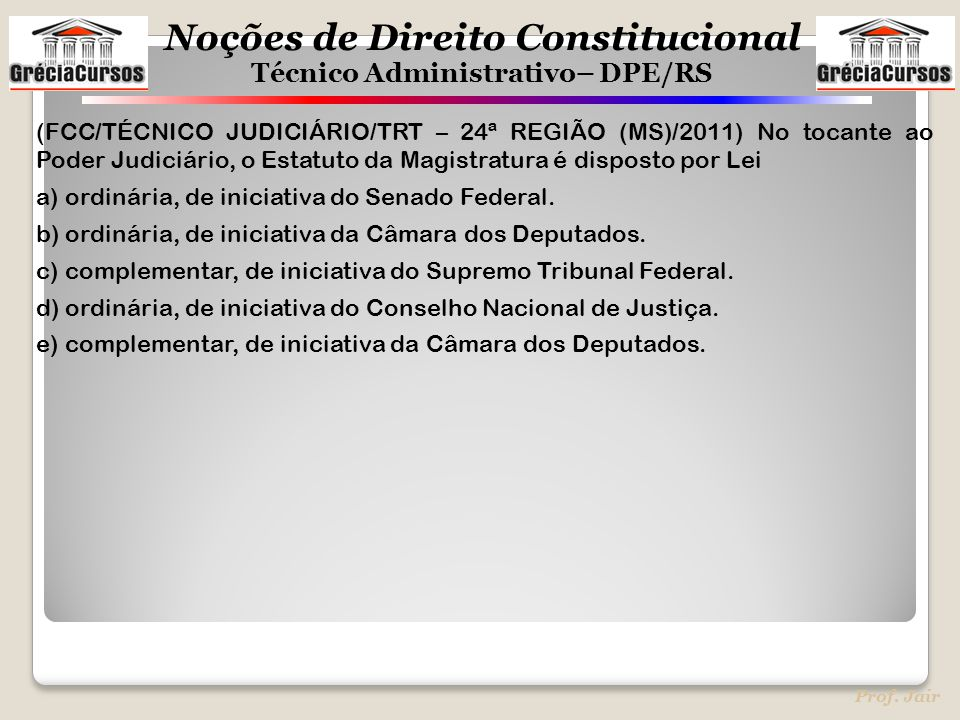 (FCC/TÉCNICO JUDICIÁRIO/TRT – 24ª REGIÃO (MS)/2011) No tocante ao Poder Judiciário, o Estatuto da Magistratura é disposto por Lei