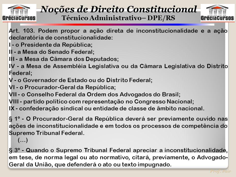 Art. 103. Podem propor a ação direta de inconstitucionalidade e a ação declaratória de constitucionalidade: