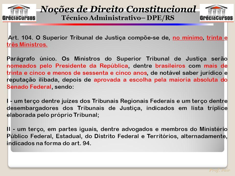Art. 104. O Superior Tribunal de Justiça compõe-se de, no mínimo, trinta e três Ministros.