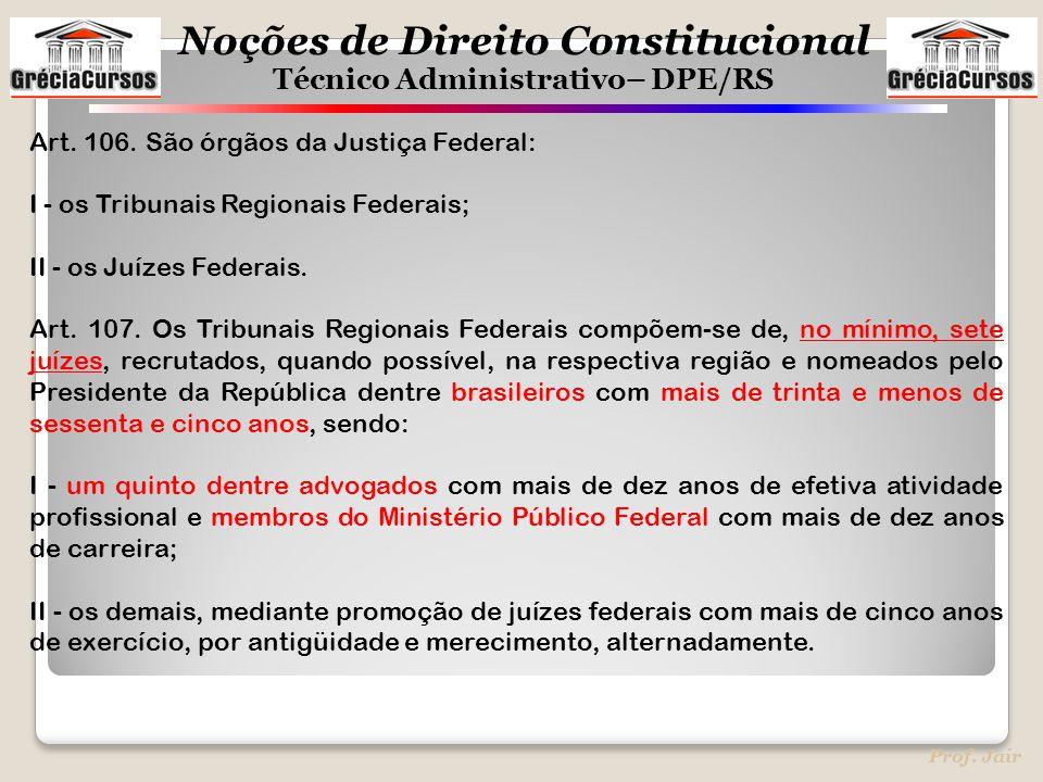 Art. 106. São órgãos da Justiça Federal: