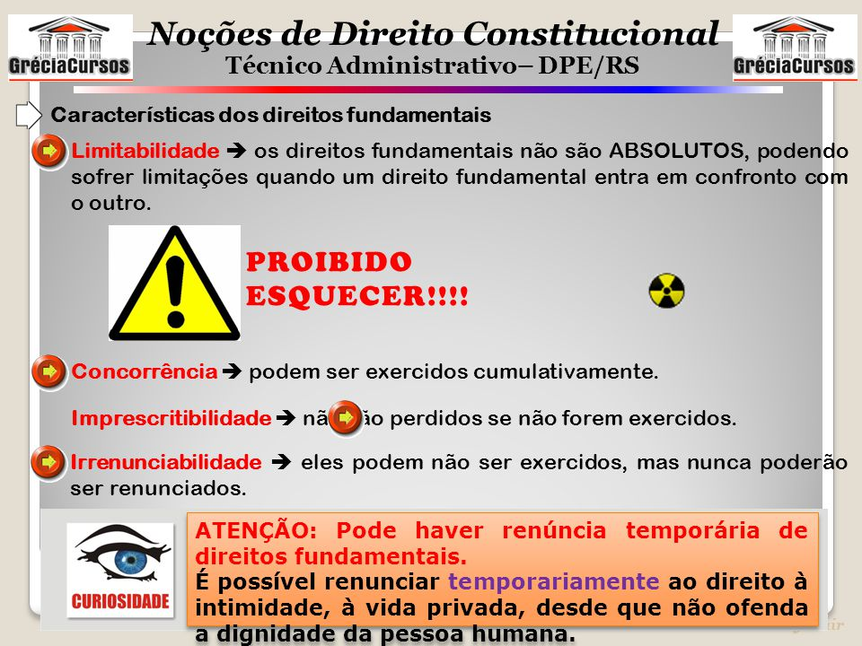 PROIBIDO ESQUECER!!!! Características dos direitos fundamentais