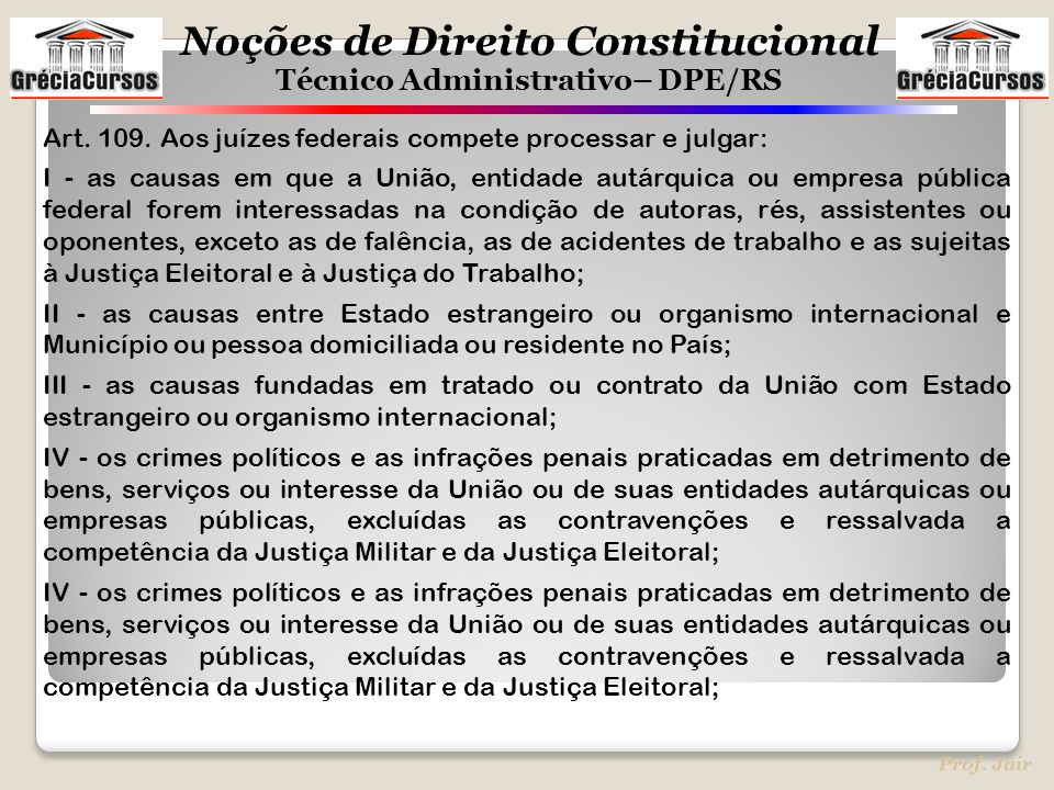 Art. 109. Aos juízes federais compete processar e julgar: