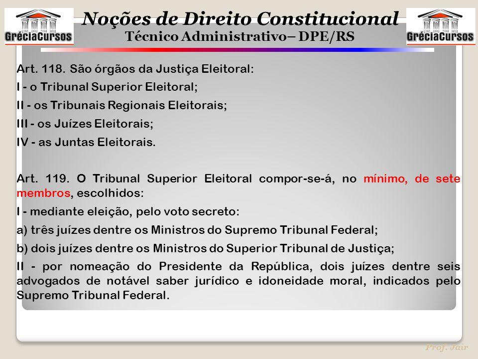 Art. 118. São órgãos da Justiça Eleitoral:
