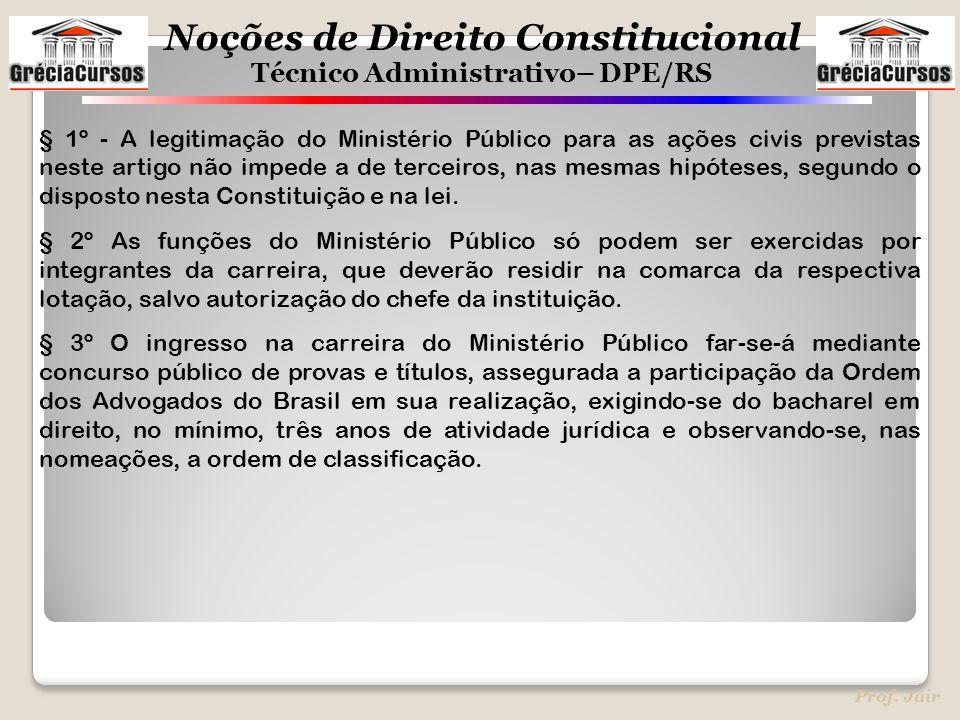 § 1º - A legitimação do Ministério Público para as ações civis previstas neste artigo não impede a de terceiros, nas mesmas hipóteses, segundo o disposto nesta Constituição e na lei.