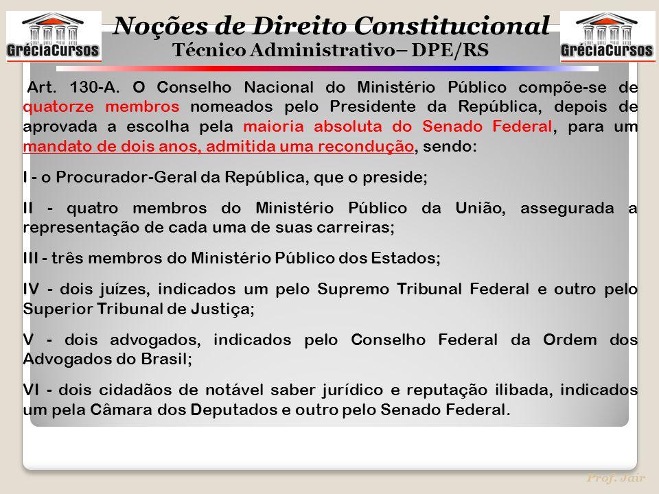 Art. 130-A. O Conselho Nacional do Ministério Público compõe-se de quatorze membros nomeados pelo Presidente da República, depois de aprovada a escolha pela maioria absoluta do Senado Federal, para um mandato de dois anos, admitida uma recondução, sendo: