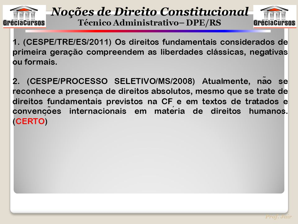 1. (CESPE/TRE/ES/2011) Os direitos fundamentais considerados de primeira geração compreendem as liberdades clássicas, negativas ou formais.