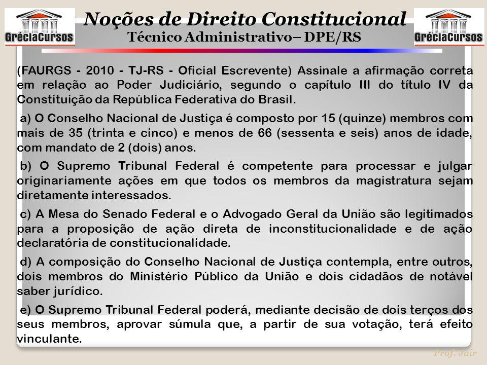 (FAURGS - 2010 - TJ-RS - Oficial Escrevente) Assinale a afirmação correta em relação ao Poder Judiciário, segundo o capítulo III do título IV da Constituição da República Federativa do Brasil.