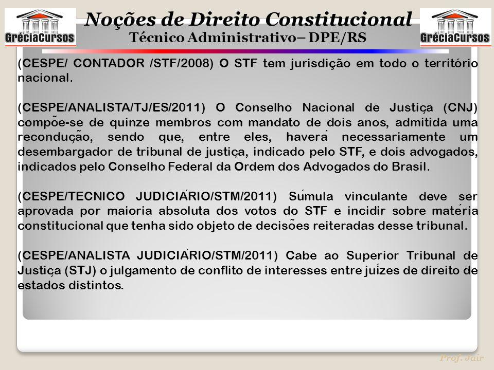 (CESPE/ CONTADOR /STF/2008) O STF tem jurisdição em todo o território nacional.
