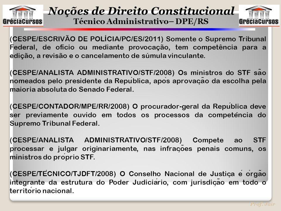 (CESPE/ESCRIVÃO DE POLÍCIA/PC/ES/2011) Somente o Supremo Tribunal Federal, de ofício ou mediante provocação, tem competência para a edição, a revisão e o cancelamento de súmula vinculante.