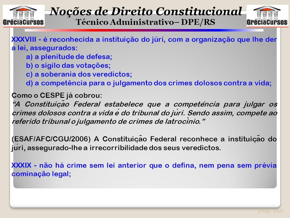 XXXVIII - é reconhecida a instituição do júri, com a organização que lhe der a lei, assegurados: