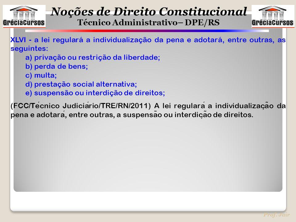 XLVI - a lei regulará a individualização da pena e adotará, entre outras, as seguintes: