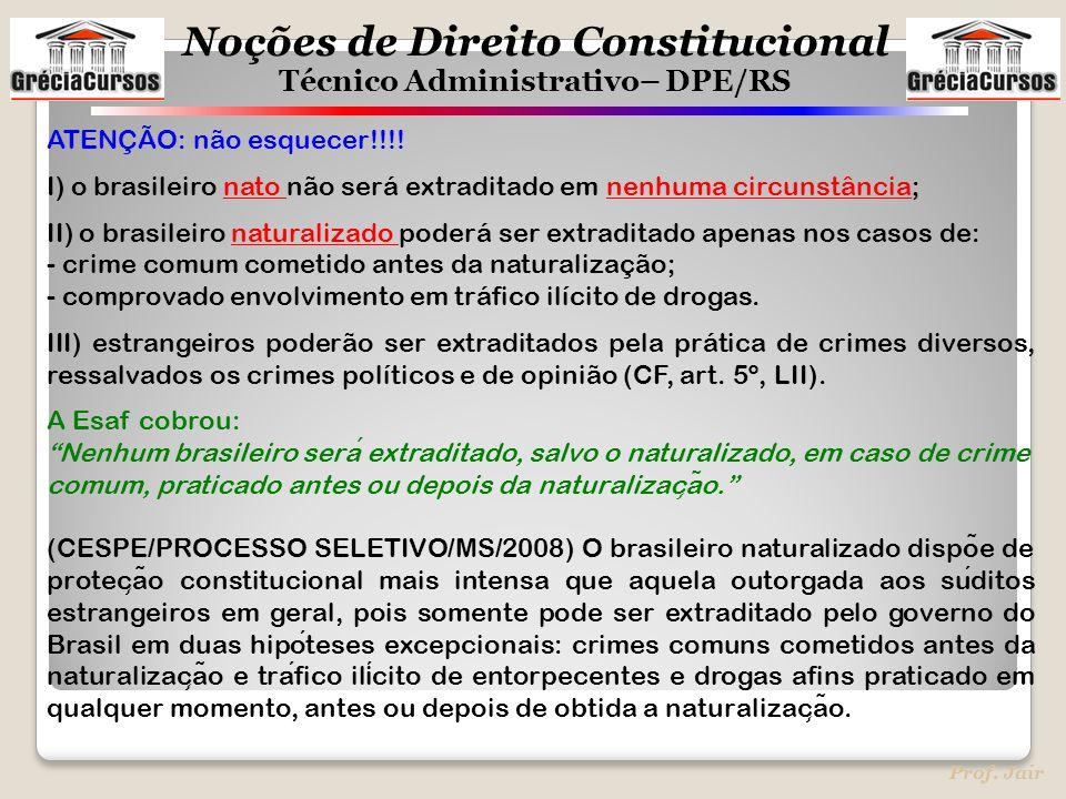 ATENÇÃO: não esquecer!!!! I) o brasileiro nato não será extraditado em nenhuma circunstância;