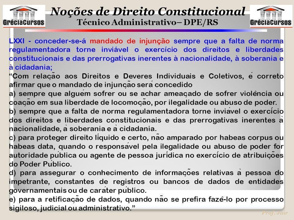LXXI - conceder-se-á mandado de injunção sempre que a falta de norma regulamentadora torne inviável o exercício dos direitos e liberdades constitucionais e das prerrogativas inerentes à nacionalidade, à soberania e à cidadania;