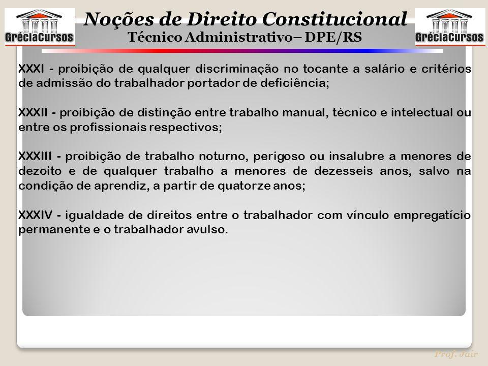 XXXI - proibição de qualquer discriminação no tocante a salário e critérios de admissão do trabalhador portador de deficiência;