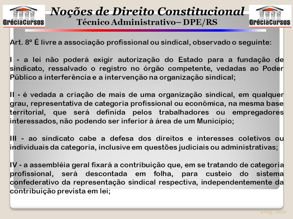 Art. 8º É livre a associação profissional ou sindical, observado o seguinte: