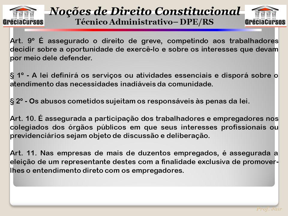 Art. 9º É assegurado o direito de greve, competindo aos trabalhadores decidir sobre a oportunidade de exercê-lo e sobre os interesses que devam por meio dele defender.
