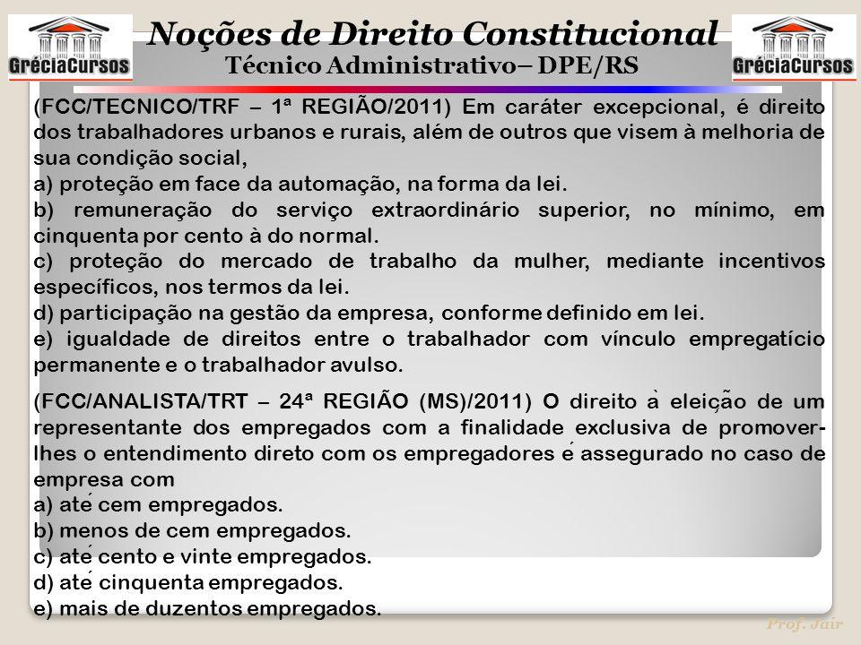 (FCC/TECNICO/TRF – 1ª REGIÃO/2011) Em caráter excepcional, é direito dos trabalhadores urbanos e rurais, além de outros que visem à melhoria de sua condição social,