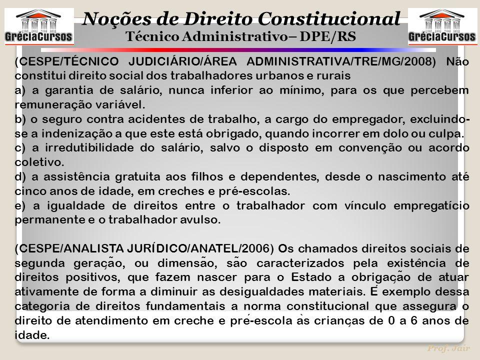 (CESPE/TÉCNICO JUDICIÁRIO/ÁREA ADMINISTRATIVA/TRE/MG/2008) Não constitui direito social dos trabalhadores urbanos e rurais
