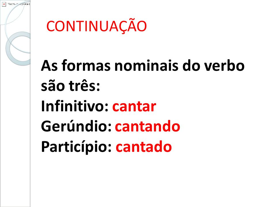 As formas nominais do verbo são três: Infinitivo: cantar