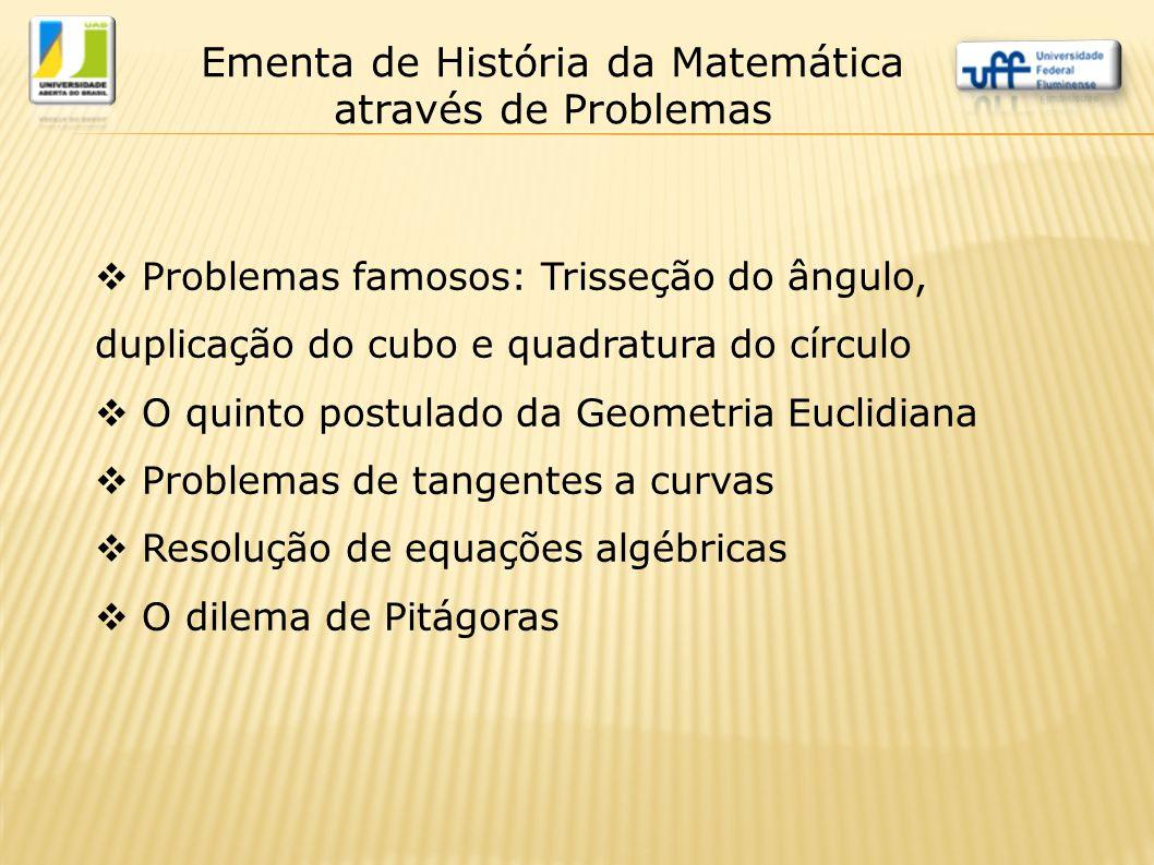 Ementa de História da Matemática através de Problemas