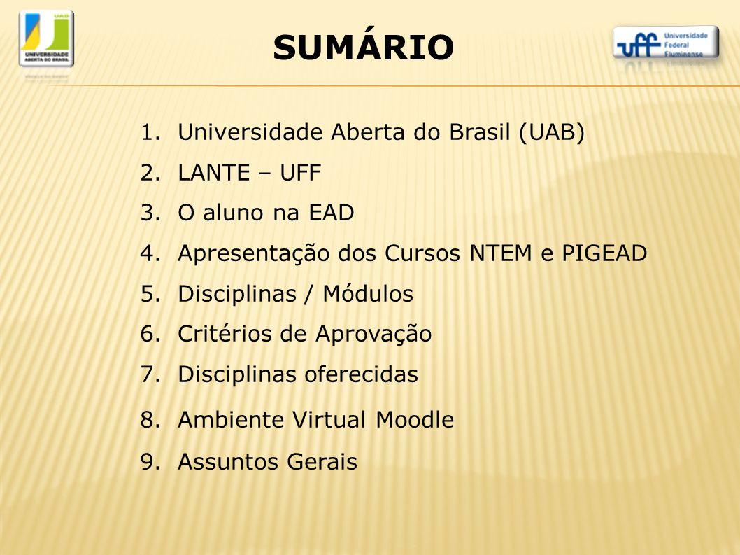 SUMÁRIO Universidade Aberta do Brasil (UAB) LANTE – UFF O aluno na EAD